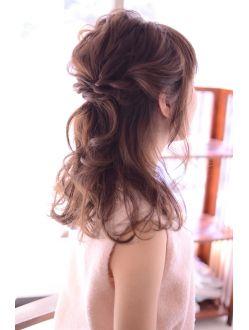 ヘアーサロン シェール(hair salon Cher) 結婚式や二次会、お呼ばれに。波ウェーブのツイストハーフアップ