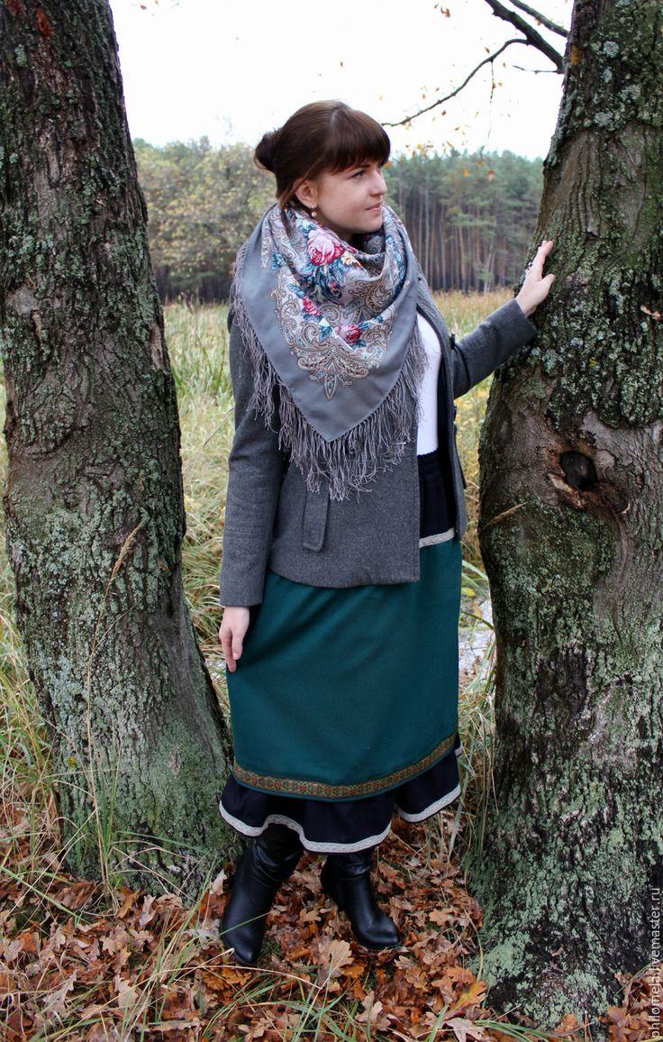 """Купить Юбка шерстяная """"Изумрудная"""" - зеленый, черный, осенняя юбка, юбка из шерсти, шерстяная юбка"""
