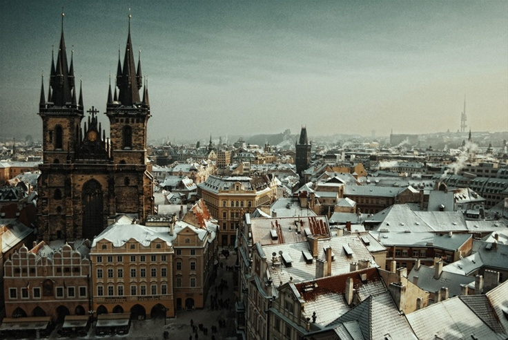 Prague, one of my favorite cities. I shot this on a very cold December morning from the clock tower in the Old Town center.