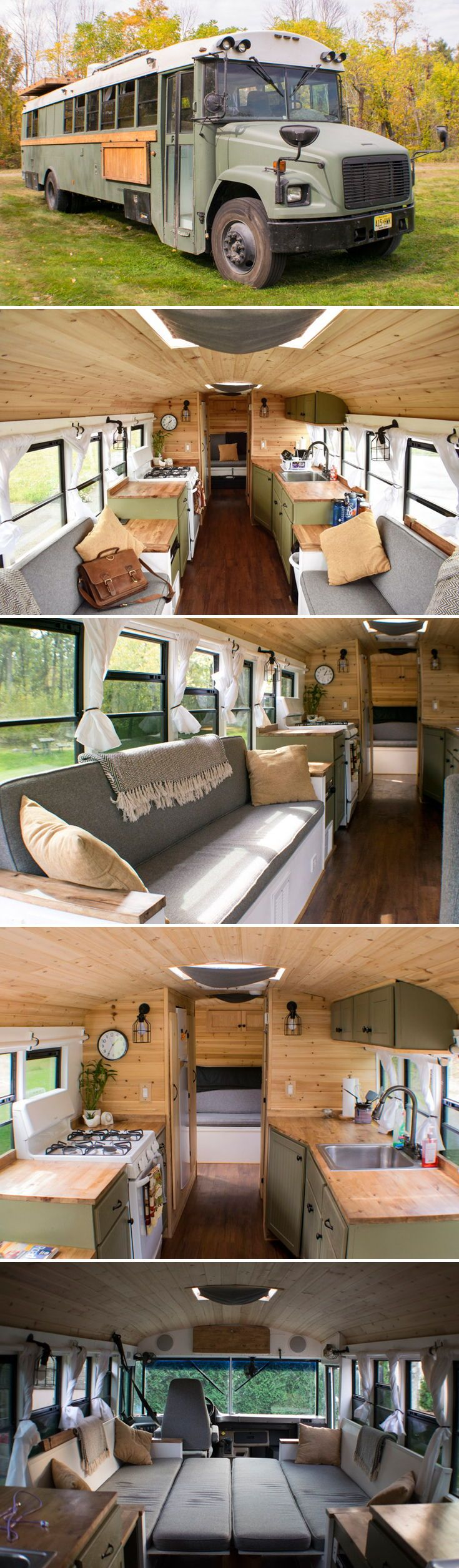 "Meet ""Navi,"" a converted school bus by Michael Fuehrer. Michael bought the 35-foot 2004 Thomas Freightliner for $3,600 and converted it into a tiny home that he uses to travel and enjoy the outdoors."
