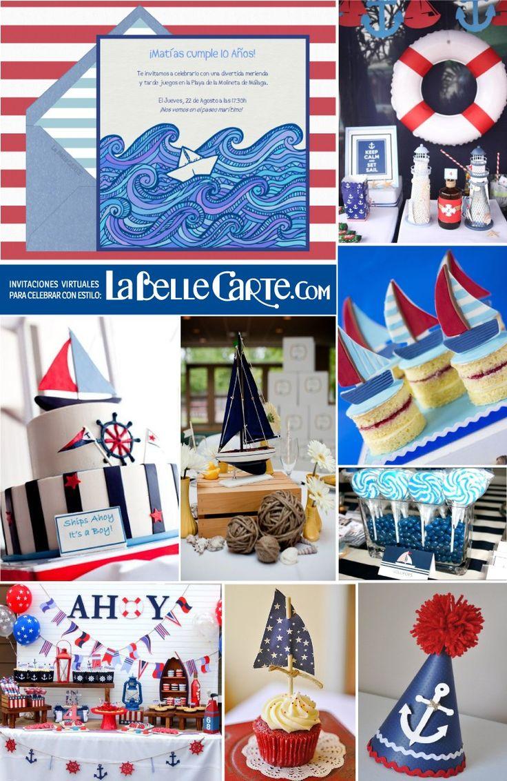 Invitaciones infantiles, Invitaciones para fiestas infantiles, Cumpleanos marinero, fiesta marinera