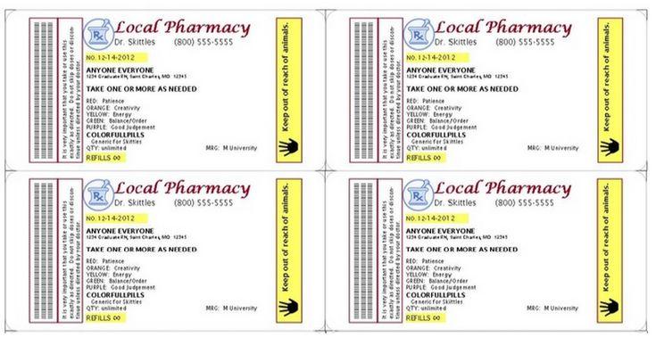 Gag Prescription Label For Skittles