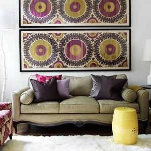 living rooms - framed fabric, framed fabric art, fabric in frames, suzani…