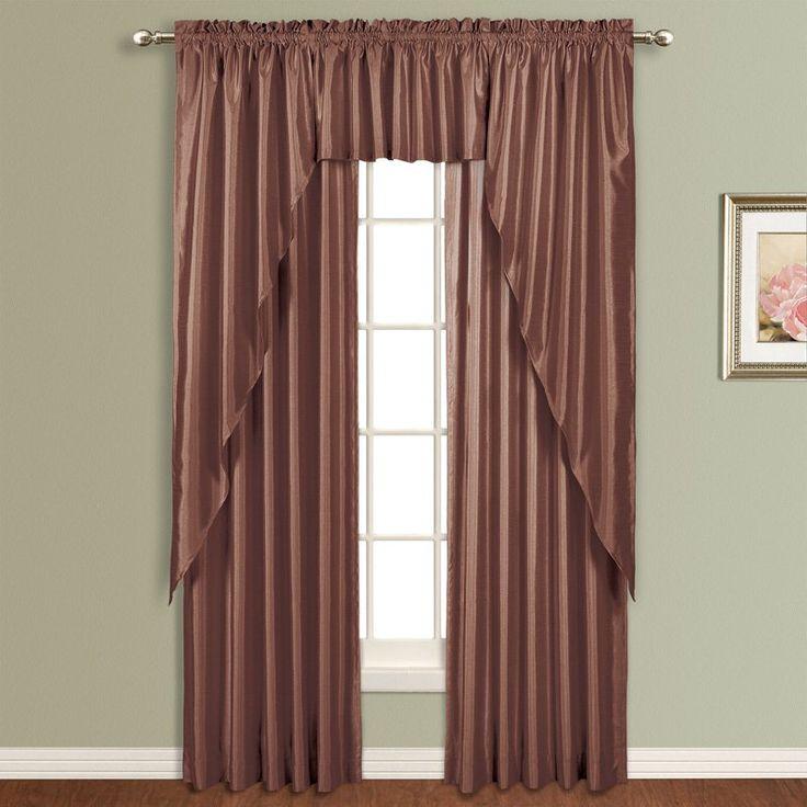 United Curtain Anna Lined Faux Silk Curtain Panel Chocolate - AN63CH