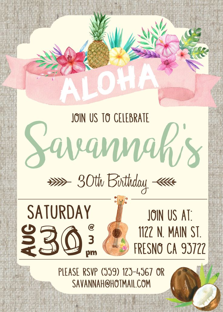 Hawaiian Luau Birthday Party Invitation Invite Watercolor Flowers Shabby Chic Ukulele Pineapple Coconut Aloha