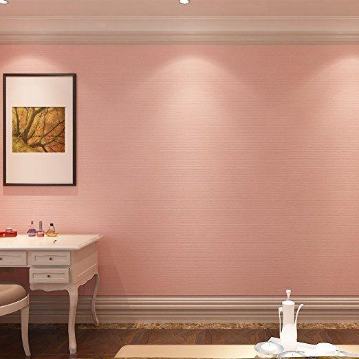 (ハンメロ)Hanmeroリピング 部屋 diy リフォーム用 無地 貼ってはがせる ビニール壁紙 のりなし 53cm×10m 姫系ピンク