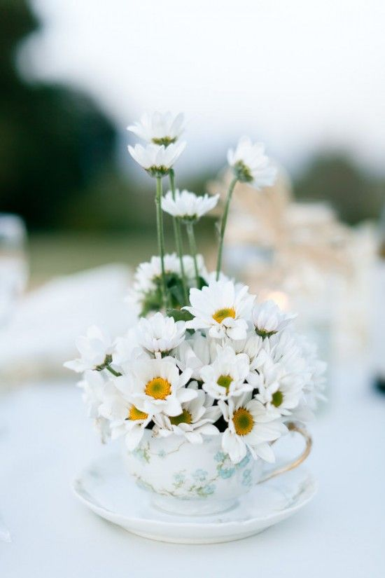 daisy wedding centerpiece erin hearts court 550x825 Inspiration: Daisies: Inspiration, Teacups Oh, Flowering, Tazas Con, Centerpieces, Tea Cups, Teacups Flower