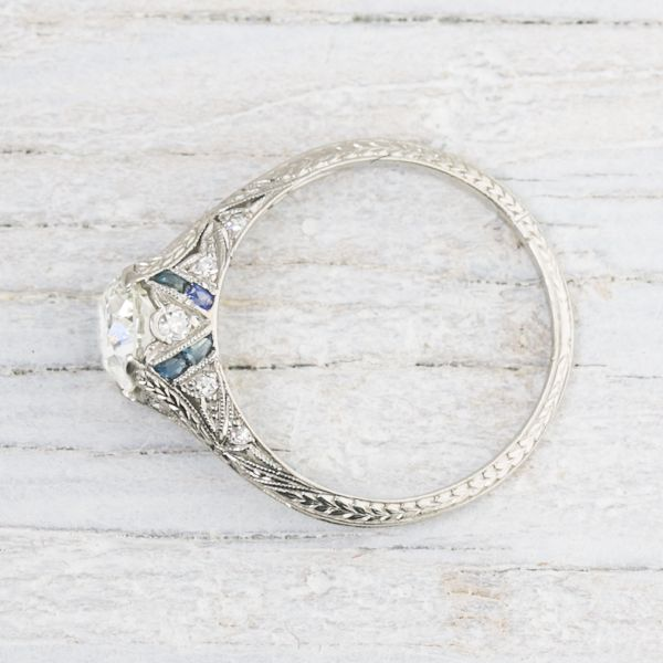 1.03 Carat Vintage Sapphire & Diamond Engagement Ring, 1920 | Erstwhile Jewelry Co.