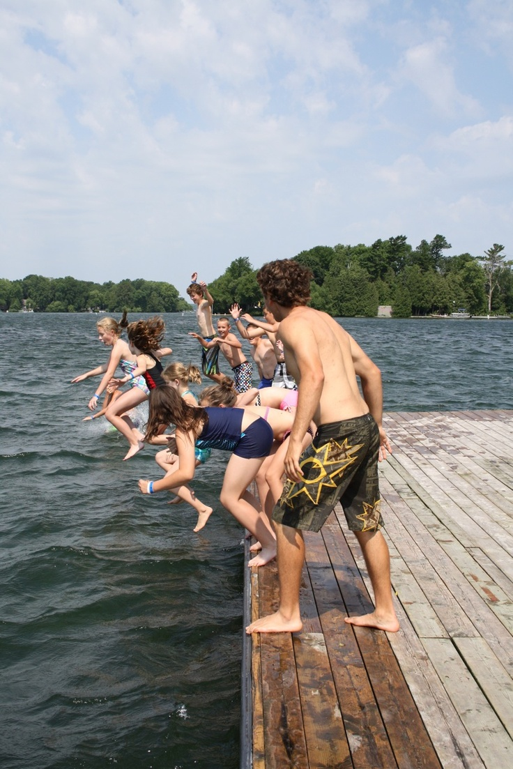Ready, Set, Go jump in the lake. Beautiful day on the docks at Fern Resort.