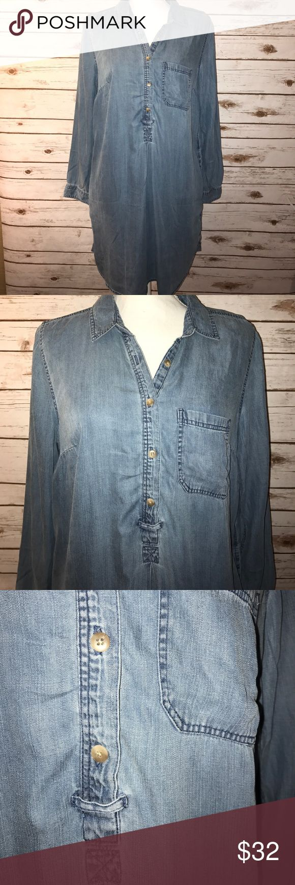 American Eagle outfitters chambray shirt dress Perfect chambray shirt dress! Slinky but a good weight. Perfect color, pockets, and sleeves that can be rolled or left long. Looks awesome with chucks, wedges or leggings and boots. A year round piece! Size large NWT. Measurements laying flat: pit to pit 22.5 inches, waist 22 inches, hip 23.5 inches, length 37 inches. Also available in size medium in my closet. American Eagle Outfitters Dresses Mini