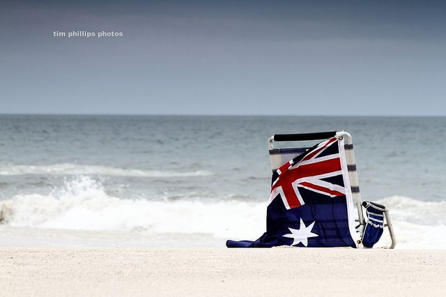 Can't get more Australian than the flag and the beach! #cruise #AustraliaDayOnboard