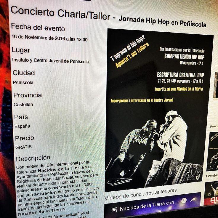 El día 16 de Noviembre es el Día Internacional por la Tolerancia y nosotros vamos a estar compartiéndolo y concienciando con nuestra música sobre la importancia de la tolerancia a lxs jóvenes de Peñíscola.  En nuestra web está toda la información: http://ift.tt/2fDG2bK  #peñiscola #rap #hiphop #reggae #diainternacionaldelatolerancia #nacidosdelatierra #hiphoppositivo #taller #charla #concierto