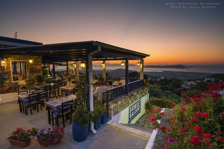 The sunset balcony restaurant in in zia village kos for The balcony restaurant