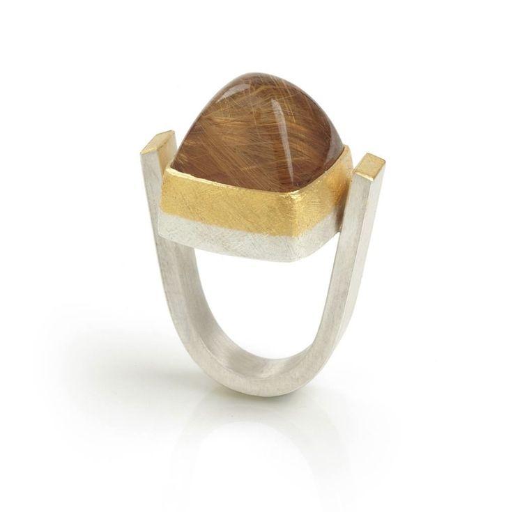 Josef Koppmann - Gold Angel Hair Quartz Ring - ORRO Contemporary Jewellery Glasgow - www.orro.co.uk