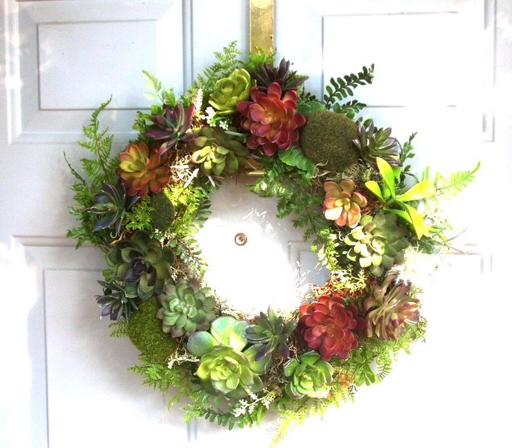 16in Wreath of Faux Succulents, Artificial Succulent Wreath, Front Door Wreath of Artificial Succulents, Rustic Door Wreath by JessWrightDesigns on Etsy https://www.etsy.com/ca/listing/119841958/16in-wreath-of-faux-succulents