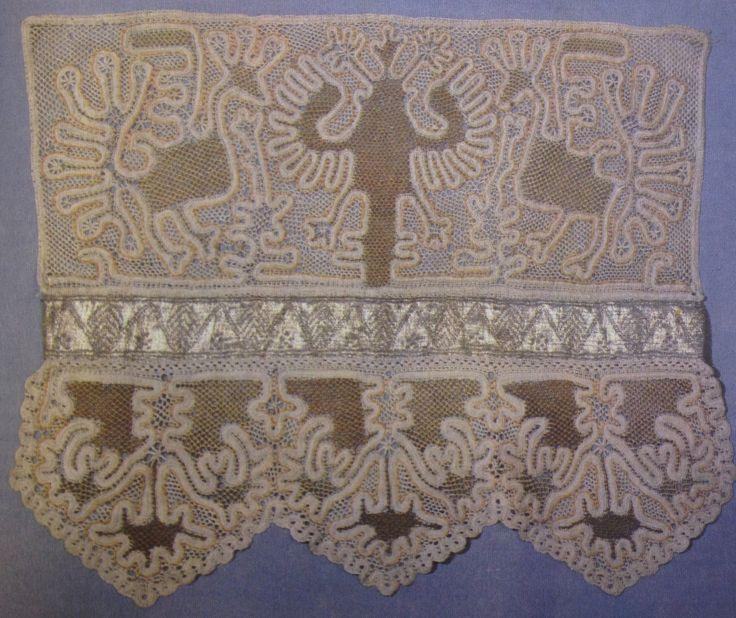 Конец полотенца. Кружево-край и кружево-прошва птицы-павы. Сцепная техника плетения. Михайлов, Рязанская губерния. 1820-1840
