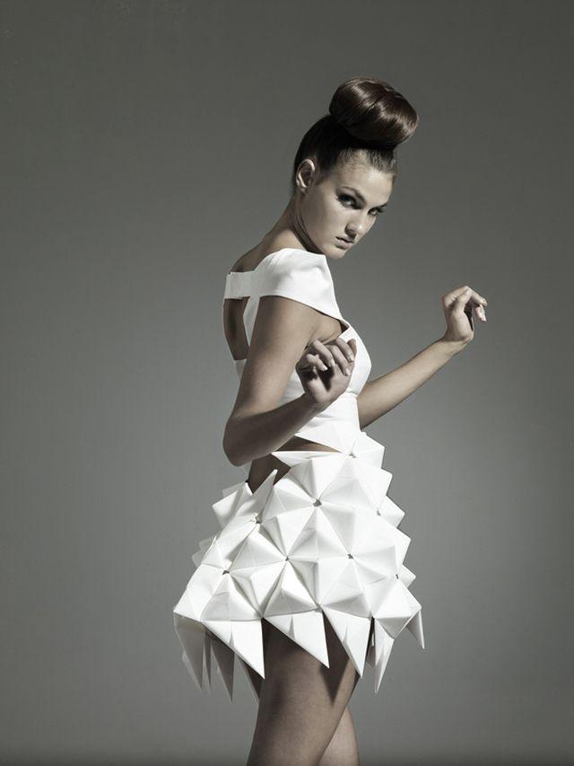 Geometric Fashion - origami dress with 3D triangle tessellation - creative surface design;  wearable art; experimental fashion design