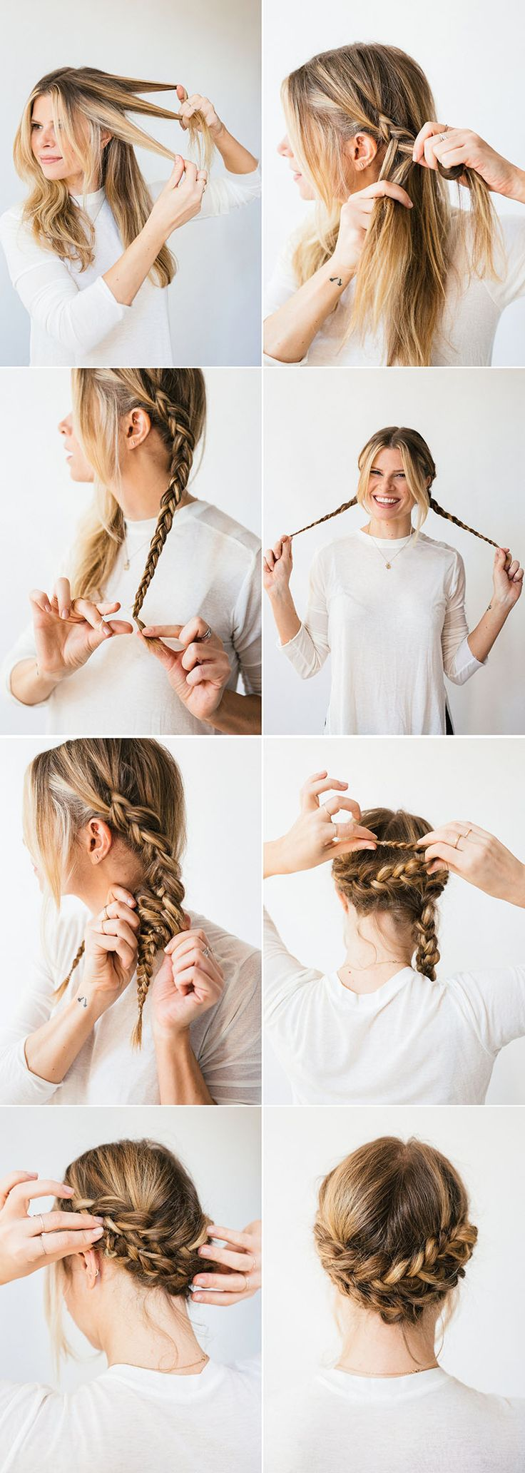 A simple braided updo perfect for romantic walks and crisp fall days.
