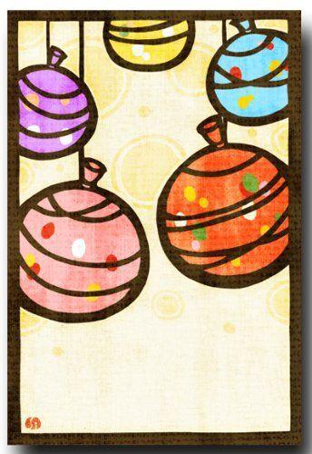 切り絵ポストカード 「なつかしヨーヨー」 夏のイラスト 暑中見舞いとしても 和道楽