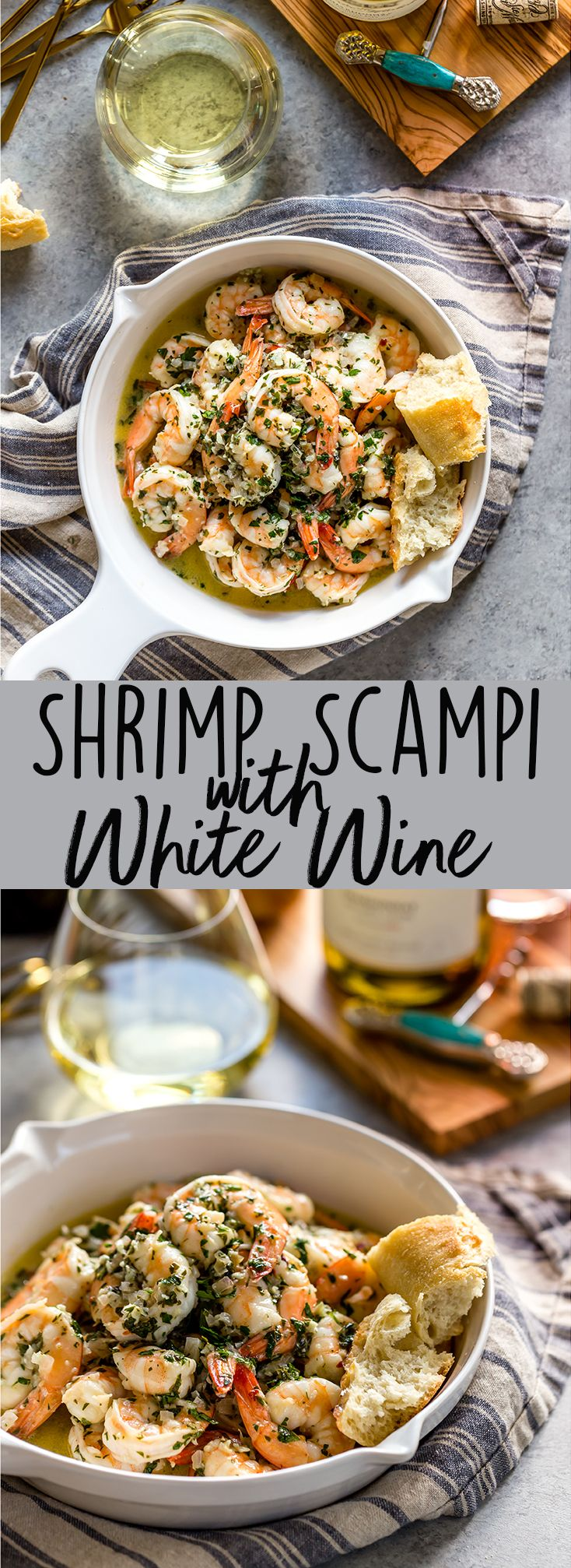This Shrimp Scampi with White Wine has a garlicky, buttery sauce, balanced by the bright freshness of wine, lemon juice and parsley. It's fantastic mixed with pasta, over rice, or just with crusty bread for dipping in the sauce.   Easy shrimp scampi recipe   Best shrimp scampi @QFCGrocery #WAWineMonth #sponsored
