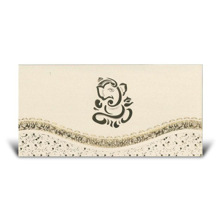 A stunning Pearl Cream Hindu #Wedding Card.  This stunning card features a Gold #Ganesh in the middle of the card.  The card also has a floral border going across the bottom.