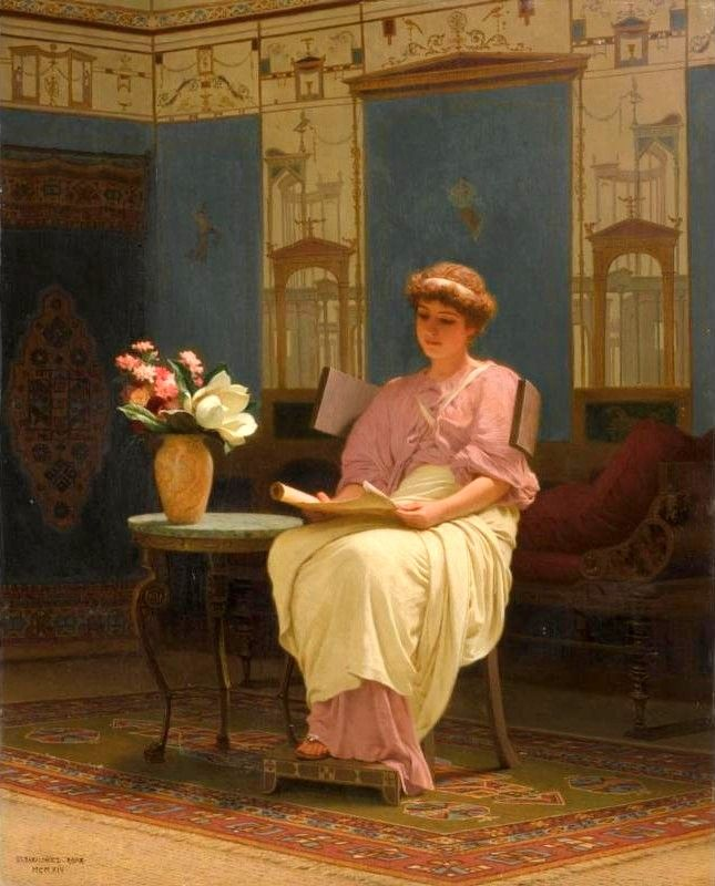 ✉ Biblio Beauties ✉ paintings of women reading letters & books - Stepan Vladislavovich Bakalovich | Lady reading in Pompeian Interior