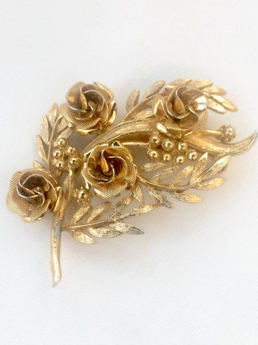 Gold Rose Brooch Roses Leaves and Berries Mid by YesterHere