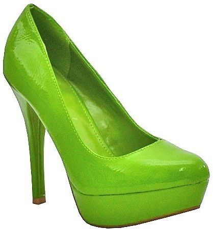 platform crinkle patent high heel shoe green lime