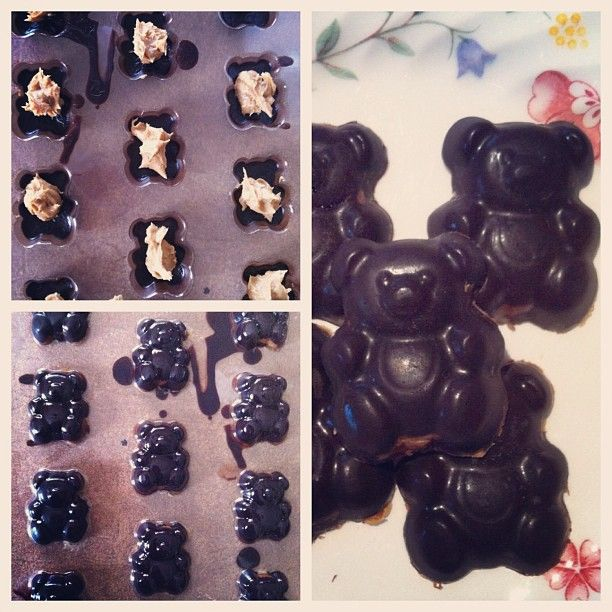 Homemade healthy chocolates, PB filled dark teddy's <3
