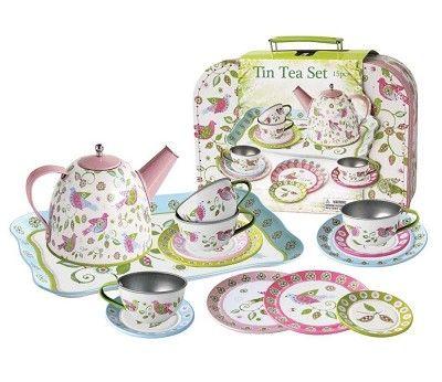 Tesett i tinn med fugler og blomster, 15 deler