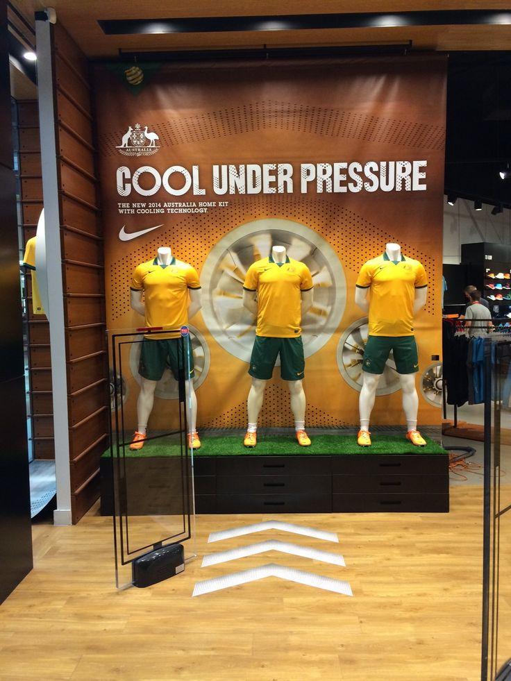Nike Football retail window display sports shoe display