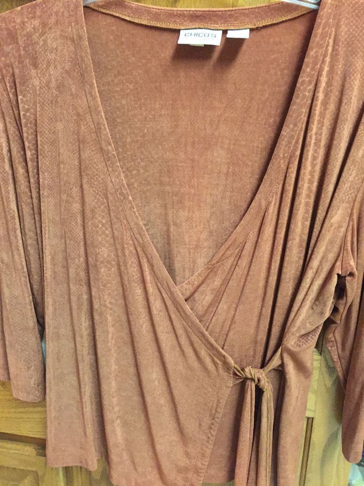 CHICOS TRAVELERS Ladies Blouse 3 LARGE Brown Shirt Chico's WrAp Tie Long Sleeve #Chicos #Wrap #Casual