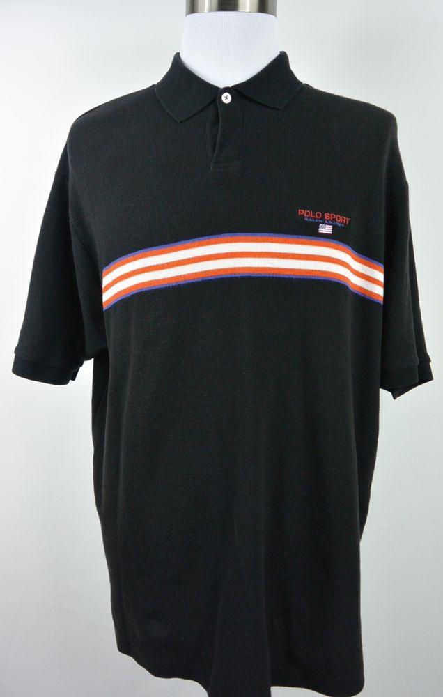 Polo Sport Ralph Lauren 2XL XXL Black Striped Cotton Short Sleeve Shirt #721 #PoloSport #PoloRugby