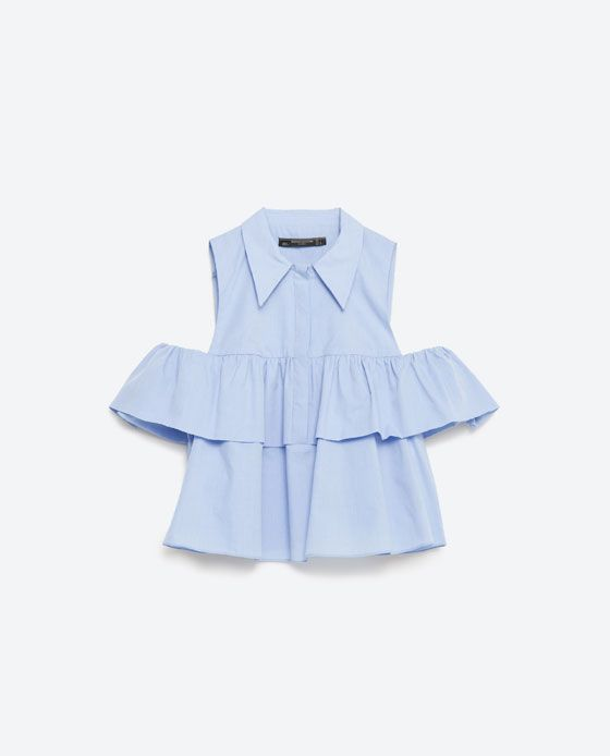 Image 8 of FRILLED POPLIN SHIRT from Zara