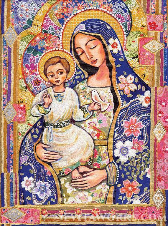 Cet article est basé sur une peinture originale, nommé «Panagia Eleousa». Il représente deux chiffres halo-éclatante dans l'ancien costume d'une belle, béatifiée mère portant un enfant dans ses bras (enfant Vierge Marie et Jésus), qui tient un oiseau sur sa main. Il a été peint dans un style non traditionnels, ressemblant à l'iconographie orthodoxe. L'original a été peint à l'acrylique sur toile, de nuances de couleur douce d'or, bleu, rouge.  Vous envisagez un objet de collection-qualité…