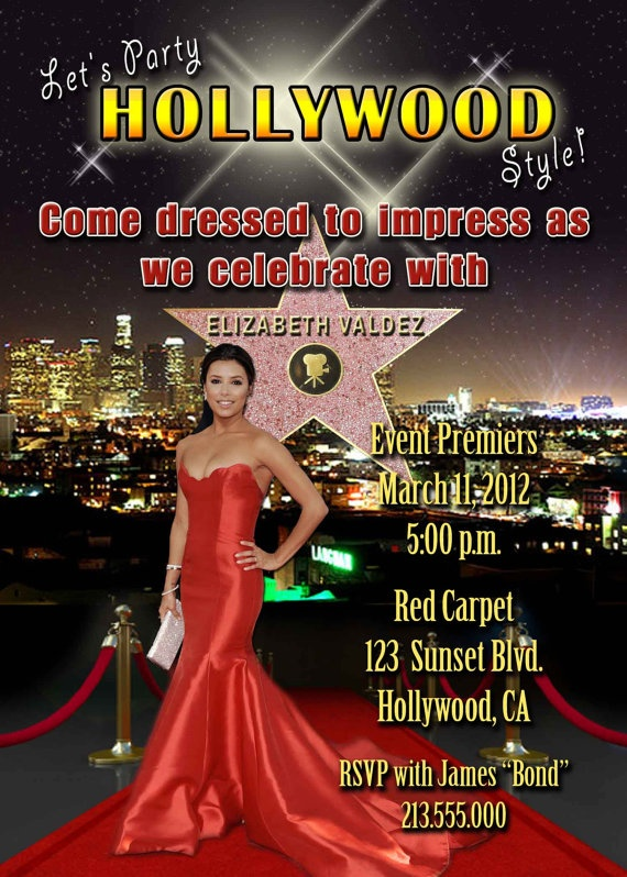 17 Best images about Hollywood birthday party theme – Hollywood Themed Birthday Invitations