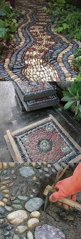 Как сделать красивые садовые дорожки с мозаикой из камня