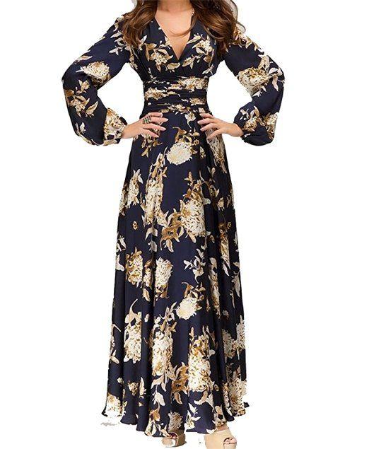 Hosaire 1X Vintage Donna Scollo a V Floreale Pizzo Gonne Lunghe Eleganti Abito Da Sera Vestito,blu,Dimensioni: S