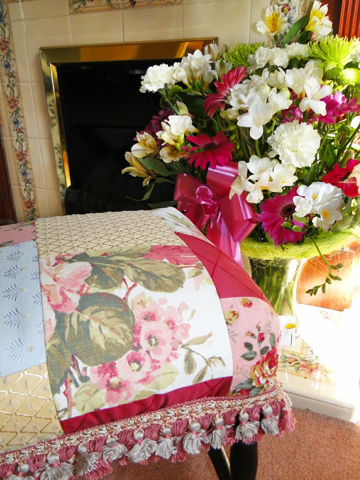 Country chic patchwork upcycled footstool www.kayburton.co.uk/birthday_flowers.php