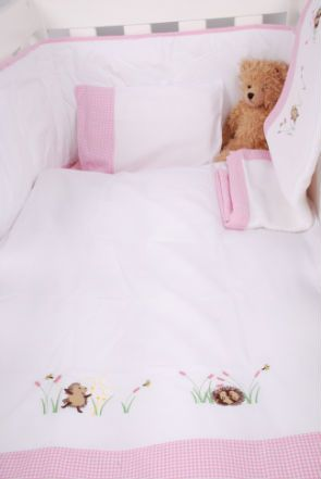 Girl Hedghogs with pink gingham trim - cot linen range from Tom & Bella www.tomandbella.co.za