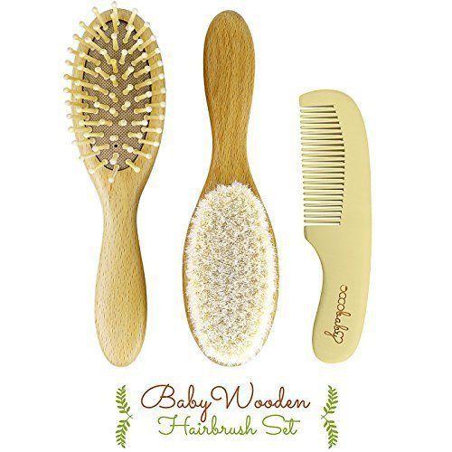Wooden Baby Hair Brush 3 Piece Comb Set Newborns Toddlers Natural Soft Goat NEW  #BabyHairBrush