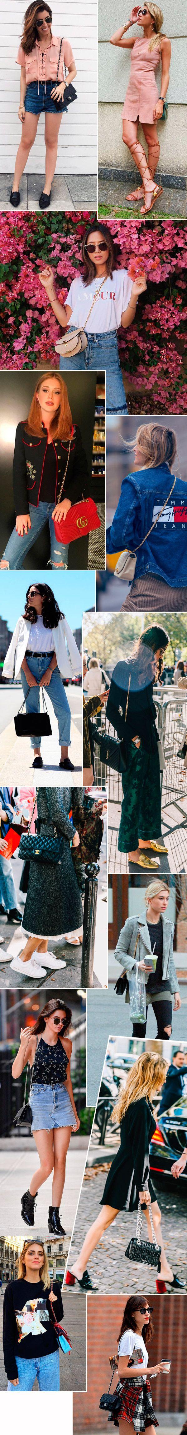 Street style look com bolsa com corrente.