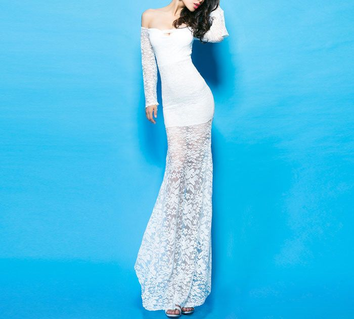 Boat neck white lace dress