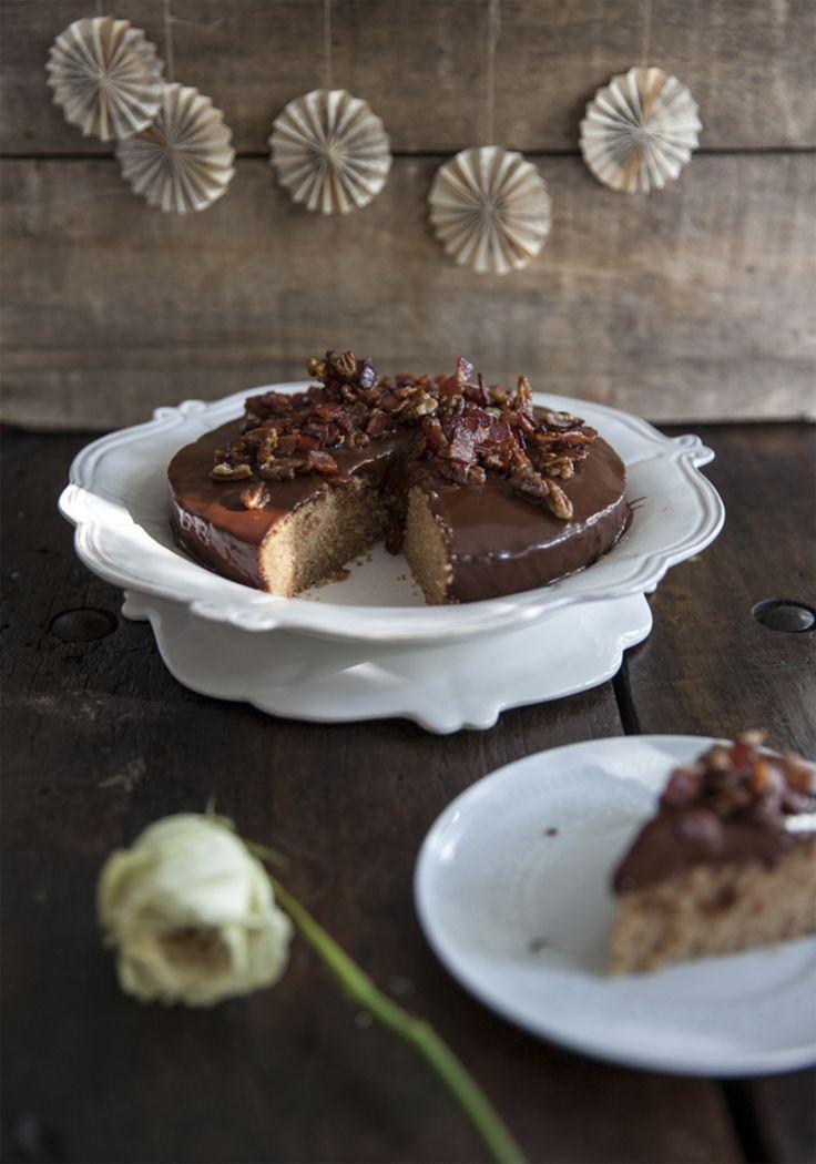 Gâteau à la crème de marrons, ganache chocolat & bacon à l'érable