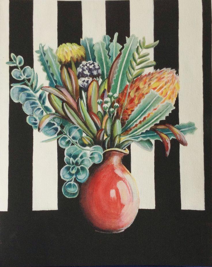 Still life of Australian flowers. Oil.