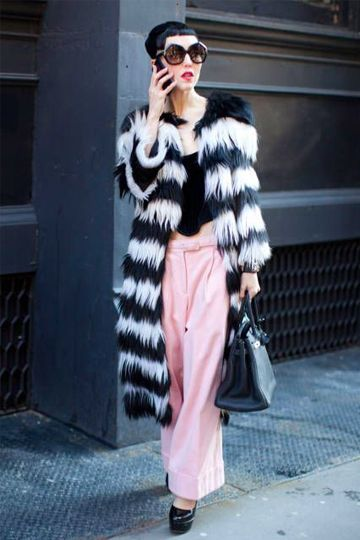 Monochrome Faux Fur Coat with Chevron Pattern Over Pink Paperbag Trousers #fauxfurcoat #furcoat #chevronfur #monochromecoat #chevroncoat #pinktrousers #pinkpaperbagtrousers #pinkpaperbag #paperbagtrousers #quirky #fashionable