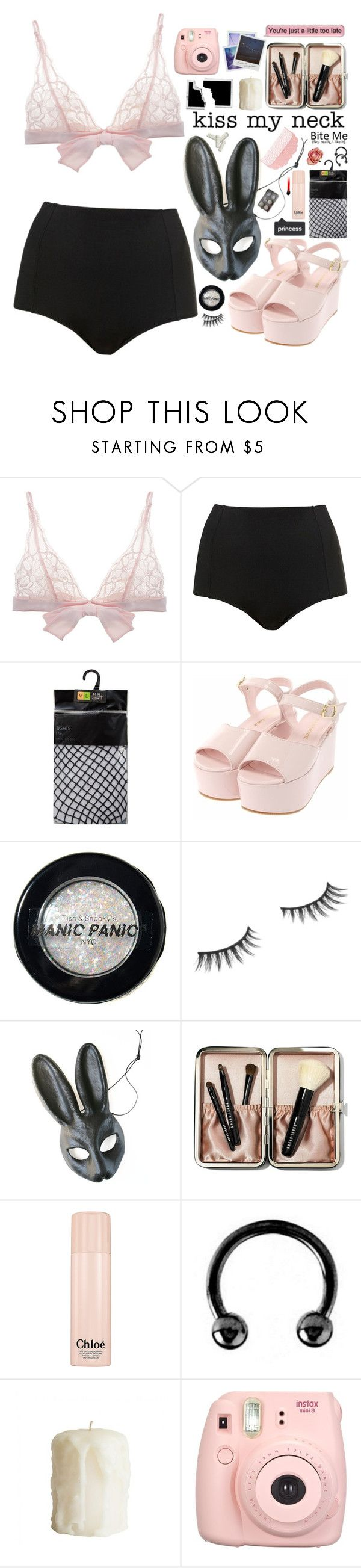 """Everyone but you"" by feed-the-skulls ❤ liked on Polyvore featuring Fleur of England, Topshop, Manic Panic NYC, Benefit, Bobbi Brown Cosmetics, Chloé, Urbiana, Polaroid and Fujifilm"