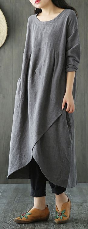 50%OFF&Free shipping. Buy more&Save More. Casual O-neck Long Sleeve, Pocket Solid Asymmetric Maxi Dresses. Color:Army Green, Black, Gray. Shop now~