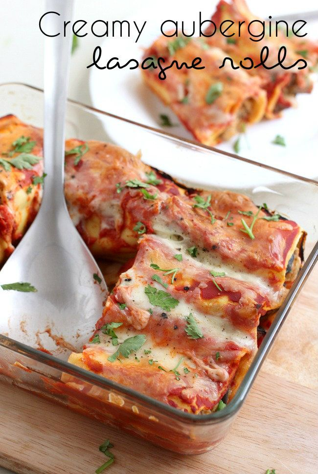 Creamy aubergine lasagne rolls - a quick and easy version of lasagne, the perfect vegetarian weeknight dinner!