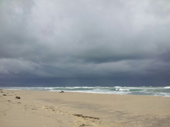 Storm clouds over the beach at Karamea